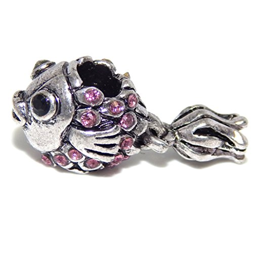 GemStorm Silver Plated 'Pink Crystal Fish' For European Snake Chain Bracelets