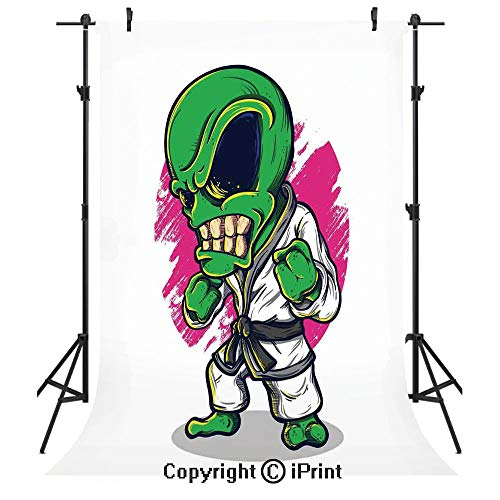 Outer Space Decor Photography Backdrops,Alien Warrior Practicing Chinese Martial Art Karate Sports Children Decor,Birthday Party Seamless Photo Studio Booth Background Banner 5x7ft,Green Pink