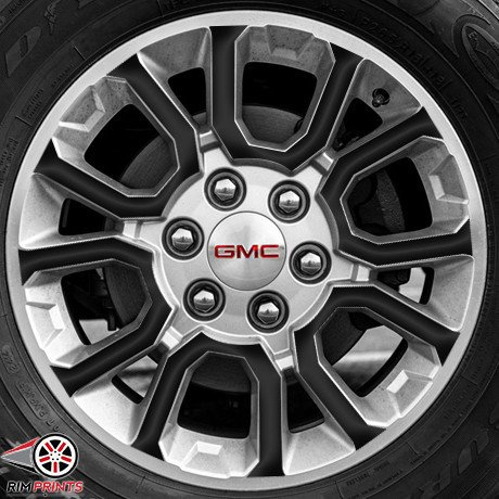 18' Black Chrome Rims - RP1050-GLBLK - Fits 2014 GMC SIERRA 18'' Wheels-GLOSS BLACK RimPrints (Vinyl Graphics)