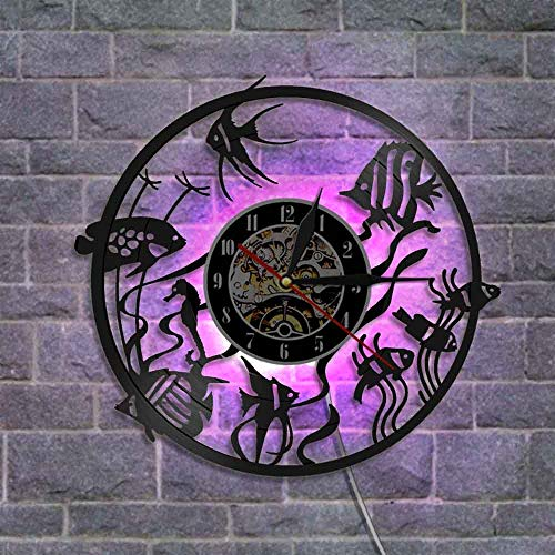The Geeky Days Goldfish Wall Art Home Decor Modern Design Vinyl Record Wall Clock Nursery Aquarium Decorative Wall Watch(with LED) ()