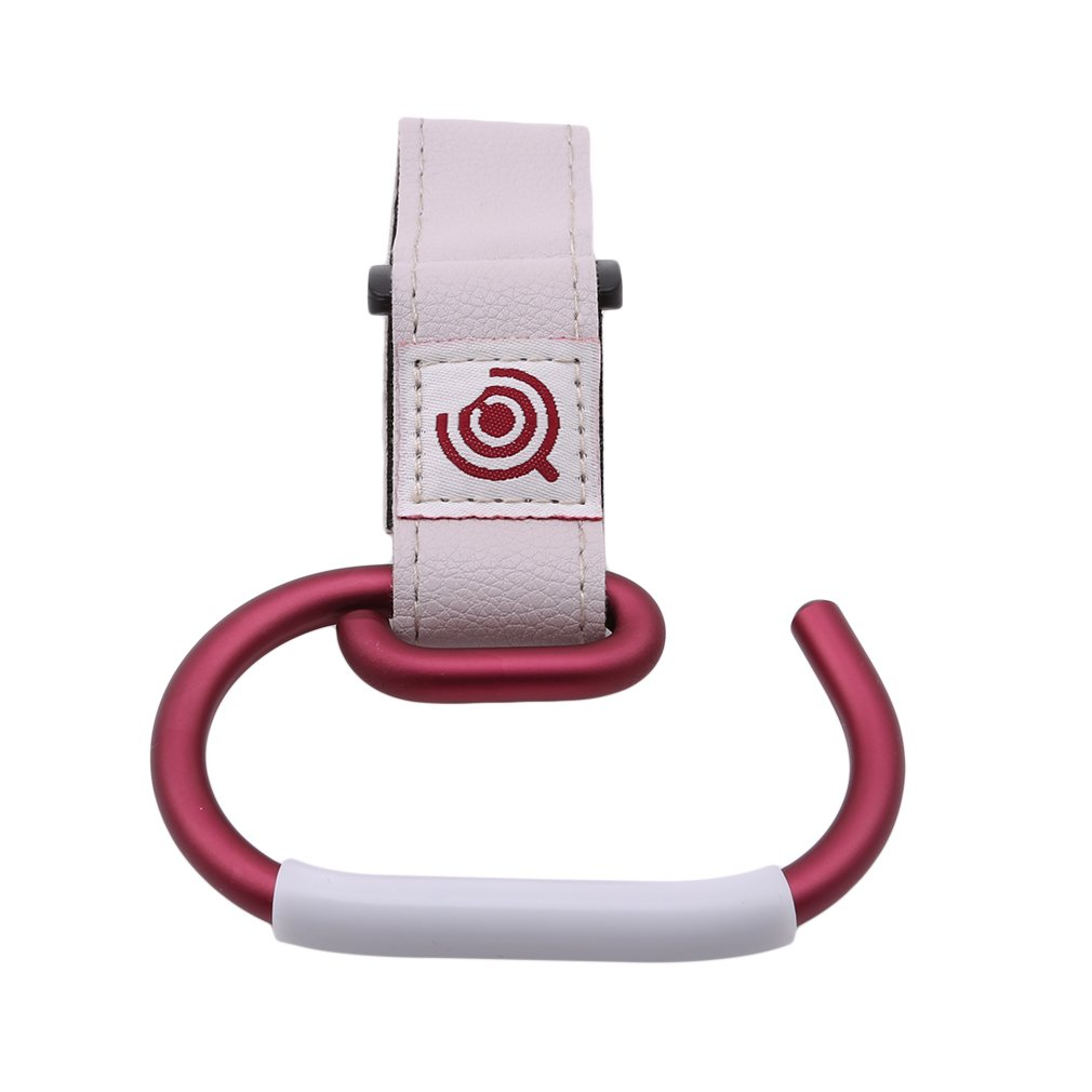 GUAngqi Stroller Hook Multi Purpose Hook for Stroller, Wheelchair, Rollator, Walker Great Accessory for Mommy When Jogging, Walking or Shopping,White Strap + Silver Hook GUAngqiqi