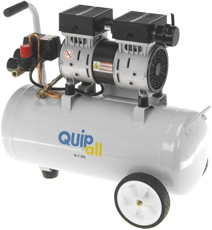 Roll over image to zoom in Quipall 6-1-SIL Oil Free Silent Compressor, 1.0 HP, 6.3 Gallon, Steel Tank