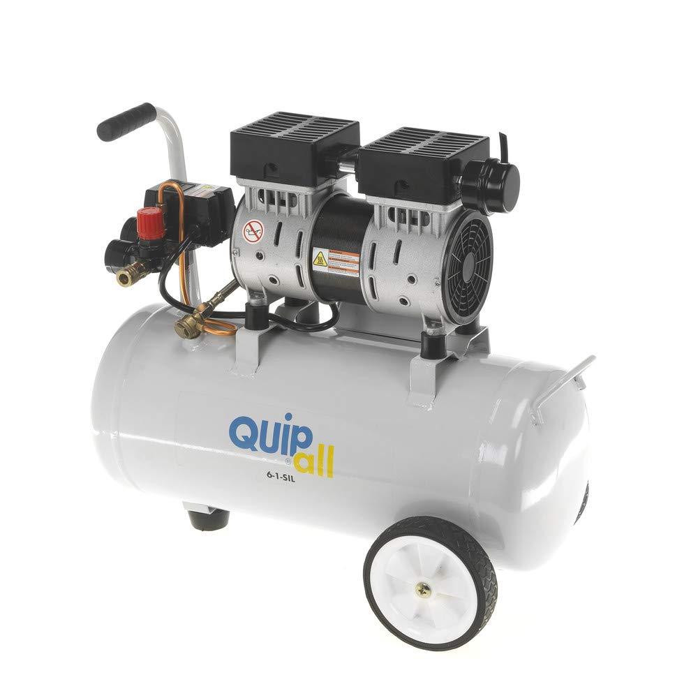 Quipall 6-1-SIL Oil Free Silent Compressor 1.0 HP Steel Tank 6.3 Gallon