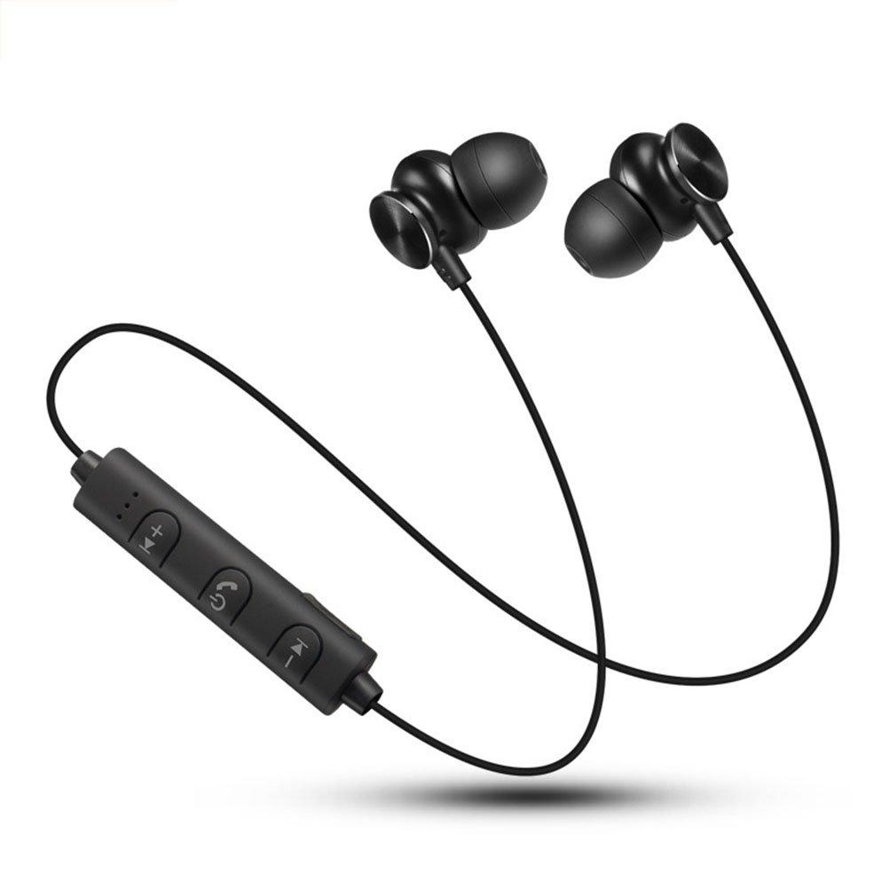 LEDMOMO Auriculares inalámbricos, a prueba de sudor Running Earbud Stereo Subwoofer Auriculares Super Bass 4.2 Auriculares intrauditivos con micrófono Llamada manos libres Aviso de voz (Negro)