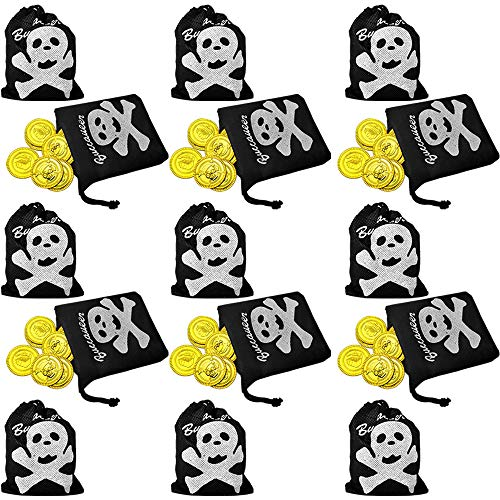 Pirate Bags with Gold Coins Set (Pack of 15) Fun Pirate Party Favor and Prize Excellent Gift for Kids Ages -