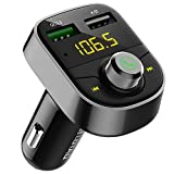 Darythem Bluetooth FM Transmitter for Car, Wireless Radio Transmitter Adapter with Hands Free Calls for iPhone, Quick Charge 3.0 USB Car Charger for Samsung, Good Gift (Gray)
