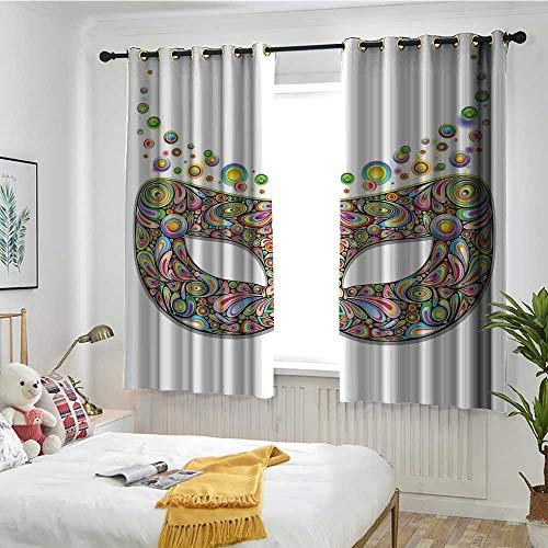 Beihai1Sun Masquerade Custom Curtain Mask in Psychedelic Art Design Pop Makeup in Vibrant Rainbow Colors Pattern Darkening Thermal Insulated Blackout W 55