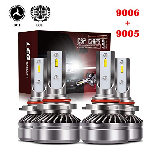 TURBOSII Extremely Bright 9005/HB3 High Beam 9006/HB4 Low Beam Combo LED Headlight Bulbs Conversion Kit, DOT Approved D6 Series CSP Chips Fog Light,12000LM 6000K Cool White (4Pack,2 sets,Silver)