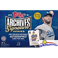 $54 Get 2019 Topps Archives Signature Series Active Players Edition Baseball Factory Sealed HOBBY BOX with Encased AUTOGRAPH Numbered…
