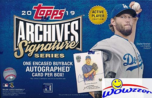 2019 Topps Archives Signature Series Active Players Edition Baseball Factory Sealed HOBBY BOX with Encased AUTOGRAPH Numbered Buyback! Look for SIGNED ON-CARD Autos of Mike Trout, Aaron Judge & More!