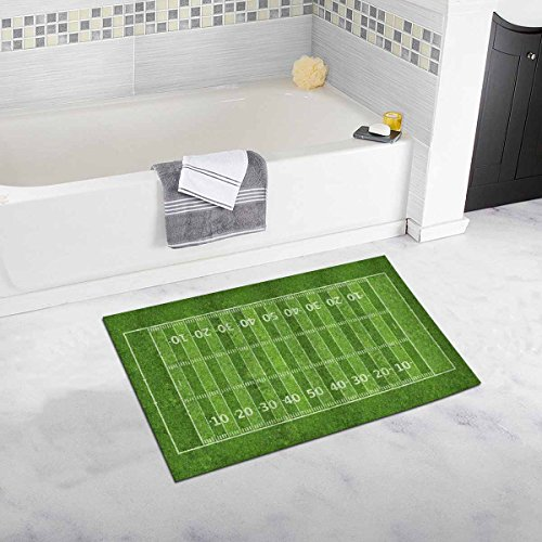 InterestPrint Sport Decor Funny American Football Field Non Slip Bath Rug Mats Absorbent Shower Rug for Bathroom Tub Bedroom Home Decor Large Size 20 x 32 Inches