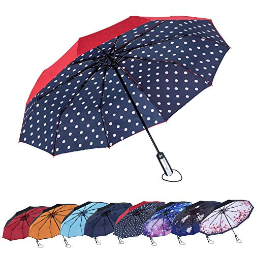 Automatic Repellent - NewSight One-Touch Automatic Folding Umbrella - Dual Layers, Less UV Rays, Alloy Frame, 10 Fiberglass Ribs, Windproof, One-Touch Open & Close, Ergonomic Handle, Water Repellent, With Pouch(Dots World)