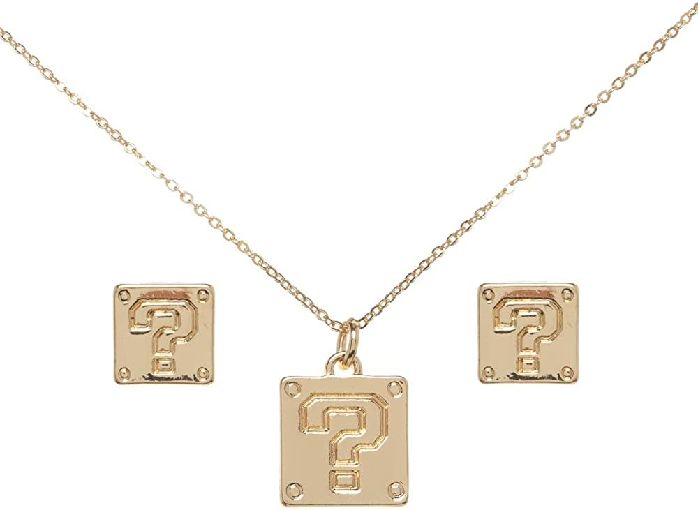 Bioworld Super Mario Question Mark Necklace and Earrings Set