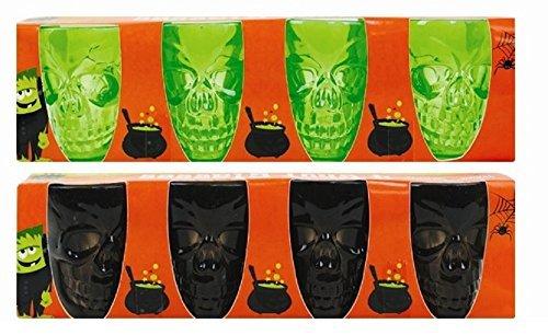 8x Halloween Party Skull Shot Glasses- Black, Green,