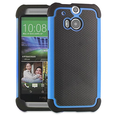 HTC ONE M8 Case,M8 Case Protective*HOT* [Drop Protection][shockproof][Rugged],Rubber+Hard case cover and Dual Layer Protective Case for HTC ONE M8(2015)-(blue)