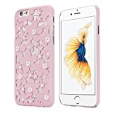 OVERMAL Sweet Girl ,Only for iPhone 6S case ,4.7 Inch Case,Hollow Out Pearl Flowers Back Case Cover Skin For iPhone 6S (Pink)