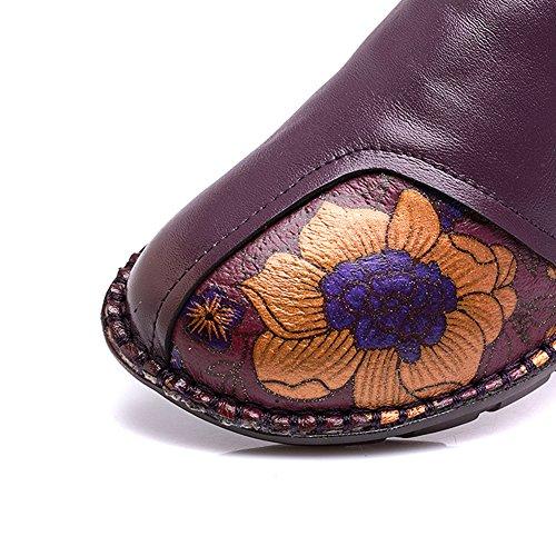 Fleur Btrada Femmes Slip Sur Les Mocassins Chaussures Bout Rond À La Main Mère Conduite Mocassins Bateau Plat Chaussures Violet