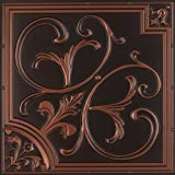 Lilies and Swirls-Faux Tin Ceiling Tile - Antique Copper 25-Pack