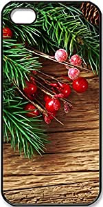 iPhone 5/5s Case New-Year-S-Pine-Boughs-And-Red-Decorative-Balls Case for iPhone 5/5s with Black Side