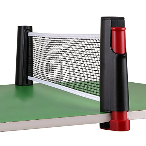 Hipiwe Retractable Table Tennis Net Replacement, Ping Pong Net and Post with PVC Storage Bag, 6 Feet(1.8M, Fits Tables Up to 2.0 inch (5.0 cm) (Black) East Champions Adjustable Cap