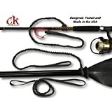 Campingandkayaking Made in The USA! NO Hook & Loop to Fail! Paddle Leash with a 2 Rod Leash Set, 3 Black Leashes Total Plus 1