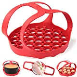 WYJP Pressure Cooker Sling Silicone Bakeware Sling for Instant Pot 6 Qt/8 Qt Anti-scalding Bakeware Lifter Steamer Rack Red, Dishwasher Safe