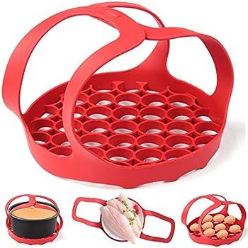 WYJP Pressure Cooker Sling Silicone Bakeware Sling for Instant Pot 6 Qt/8 Qt Anti-scalding Bakeware Lifter Steamer Rack Red, Dishwasher Safe