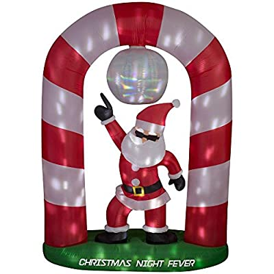 8 ft Christmas Holiday Santa Disco Scene AIrblown Inflatable
