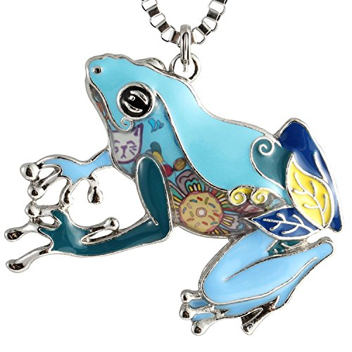 (Luckeyui Large Frog Pendant Necklace Gift for Women Girls Blue Enamel Tree Frog Charm Jewelry )