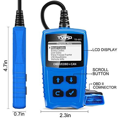 Tvird OBD 2 Scanner Universal Car Engine Fault Code Reader Classic Enhanced Diagnostic Scan Tool - Black and Blue by Tvird (Image #1)