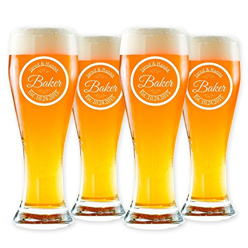Personalized Pilsner Beer Glass, Customized Pint Glass, Set of 4 Housewarming Gifts, Wedding Favors, (Pilsner - Glass Customized