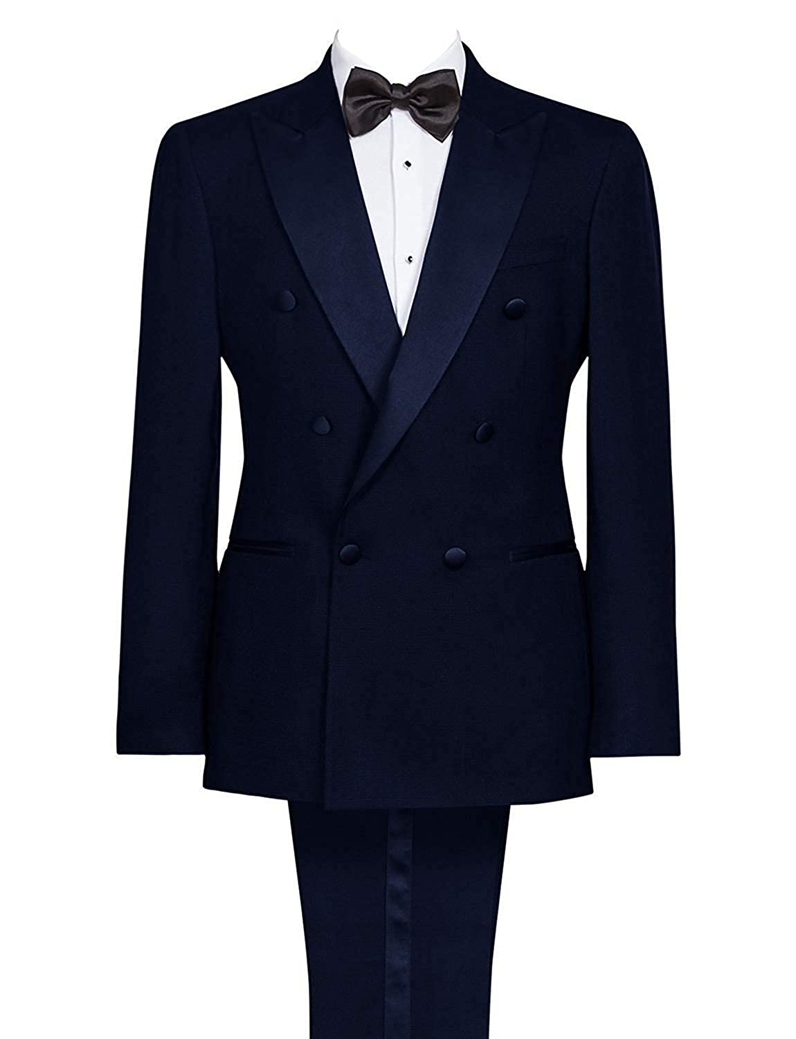 Wemaliyzd Mens 2 Pieces Regular Fit Tux Suit Double Breasted Blazer Pants