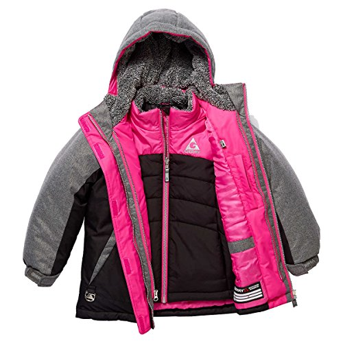 Reversible Snap Zip Jacket - Gerry Girls' 3-in-1 Systems Jacket, Black, Medium (10-12)