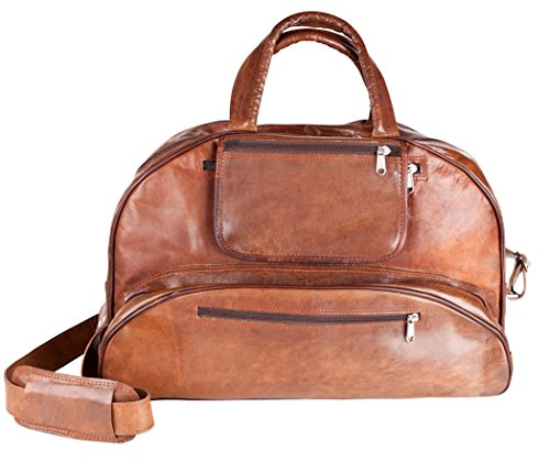 81stgeneration Genuine Leather Vintage Weekend Travel Sports Gym Leisure Bag Holdall by 81stgeneration
