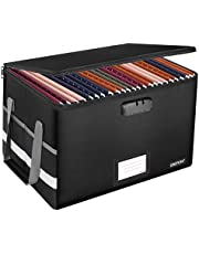 File Box with Lock,ENGPOW Fireproof Box File Storage Organizer Anti-Static Box,Collapsible Fireproof Document Box Filing Box with Handle,Portable Home Office Safe Box for Hanging Letter/Legal Folder