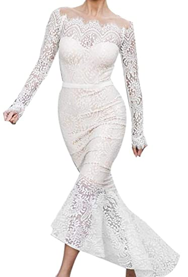 1f82fe257014 Alion Womens Off Shoulder Lace Dress Long Sleeve Bodycon Cocktail Party  Wedding Dresses at Amazon Women s Clothing store