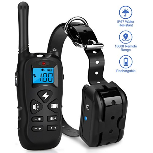 Mothca Dog Training Collar with Remote 1800ft [2018 Upgraded Version] Waterproof Rechargeable with Beep/Vibration/Electric Shock Modes for Small Medium Large Dogs-No Problem with Swimming/Shower ()