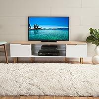 Reginald Mid Century Modern TV Stand (White with Natural Finish)