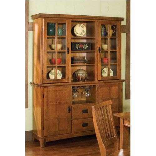 Home Style Arts and Crafts Buffet and Hutch, Cottage Oak Finish