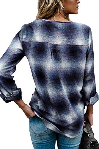 Carreaux Chemise Shirt Manche Yidarton Blouse Bleu Femme Tunique Longue Top Sexy Col V Tee zqd55wtH