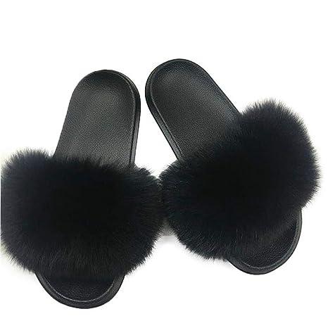 ef49dea8cdf2 Amazon.com  ASO-SLING Women s Winter Faux Fur Slippers Indoor Fluffy Fox  Hair Floor Slide Warm Plush Flats Non-Slip Home Slipper  Sports   Outdoors
