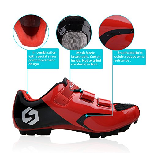 Smartodoors MTB / Road Cycling Schuhe Racing Cycle Schuhe für Männer Frauen SD01-MTB-Schwarz / Rot