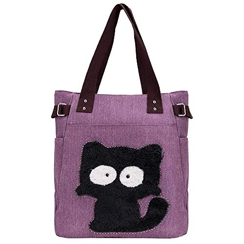 Valentines Day Gifts-Valentoria Cute Fat Cat Design Multifunction Women's Canvas Zipper Closure Handbag Shoulder Lunch Tote Bag with Large Capacity Best Gifts for Teen -