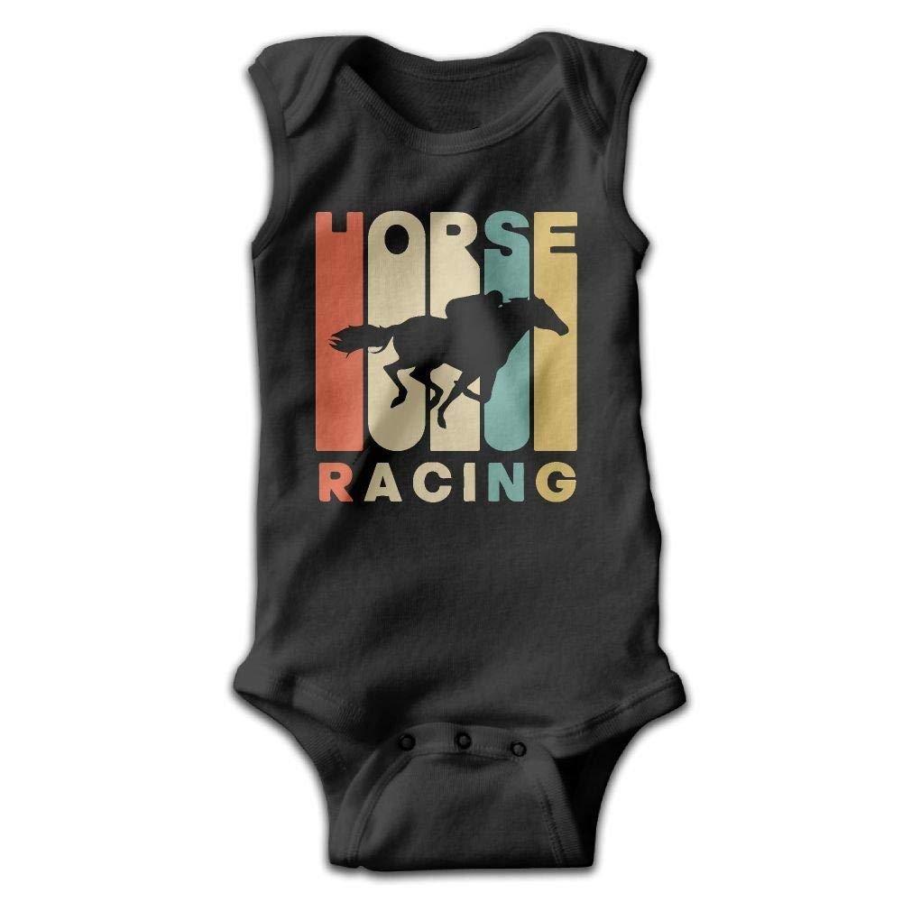 Vintage Style Horse Racing Silhouette Baby Newborn Infant Creeper Sleeveless Romper Bodysuit Onesies Jumpsuit Black