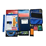 School Supplies Bundle- Five Star Pencil Pouch, Five Star Folders, Wide Ruled Composition Books/Spiral Note Book/Loose Leaf Paper, Mechanical Pencils, Pens, Ruler, Compass & Protractor and More