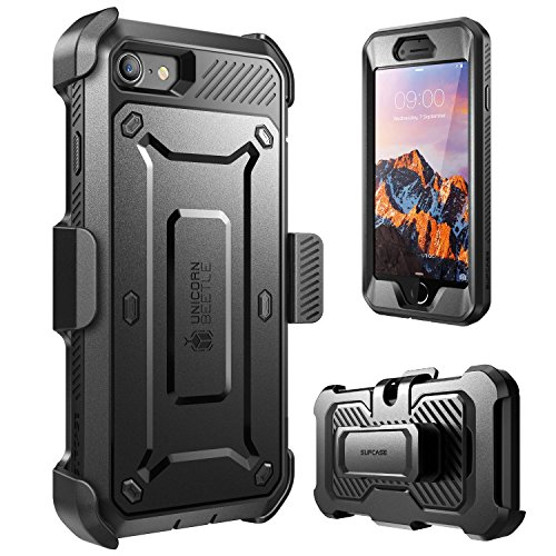 iPhone 8 Case, SUPCASE Full-body Rugged Holster Case with Built-in Screen Protector for Apple iPhone 7 2016/iPhone 8 (2017 Release), Unicorn Beetle PRO Series - Retail Package (Black/Black) by SUPCASE (Image #1)