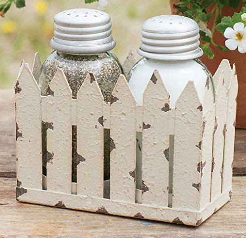 White Pickett Fence Mini Mason Jar Salt and Pepper Shaker (Colonial Fence)