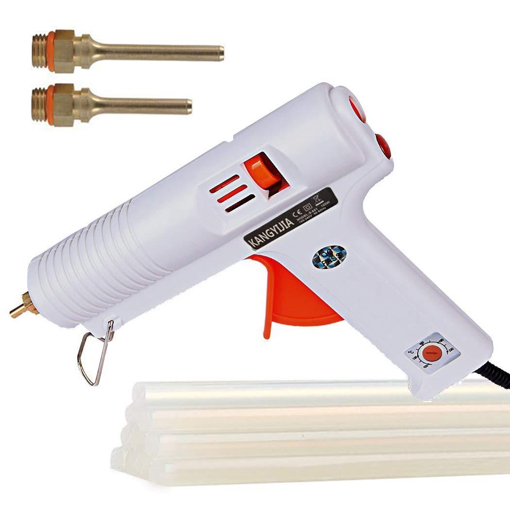 Hot Glue Gun Melt Adjustable High and Low temp 100W with 3pcs 3.0mm Interchangeable Nozzles (Length: 30/50/70mm) 10pcs glue stick 5pcs finger cap