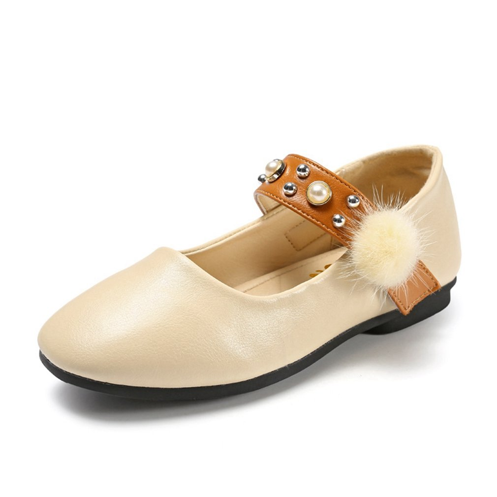 Girls Mary Jane Slip-On Ballerina Ballet Flat Princess Dress Shoes With Pom Pom Decor (Toddler/Little Kid)