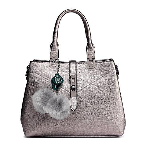 Leather Office Bags Shoulder Handbags Lulu Women Bronze Miss Female Top Bags Pu Black for Lady Handle qwx48t1R8